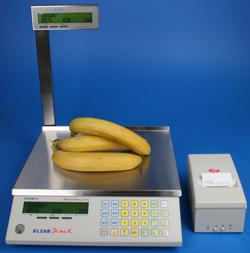 Waga ELZAB Prima K z drukarką ELZAB Talos - rozwiązanie wagowe umożliwiające druk na papierze termicznym - ciągłym (działy tematyczne, sery, wędliny, warzywa)