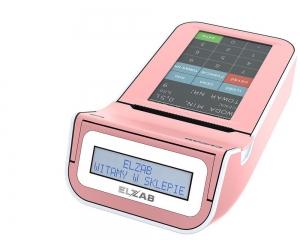 Różowa, mobilna kasa fiskalna z elektroniczną kopią paragonów ELZAB K1 3k, Bluetooth, WiFi