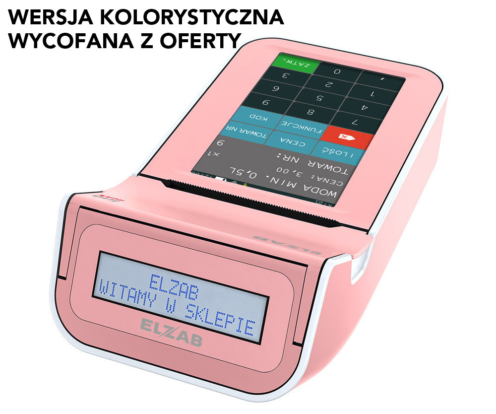 Kasa fiskalna ELZAB K10 ONLINE BT/ WiFi/ EX RÓŻOWY/BIAŁY